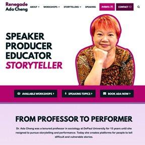 Screenshot of the homepage for Renegade Ada Cheng. Website design and development by Chicago Wordpress freelance developer erica dreisbach.