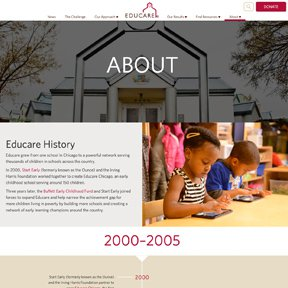 About page for Educare. Custom Wordpress theme by Chicago web developer erica dreisbach.