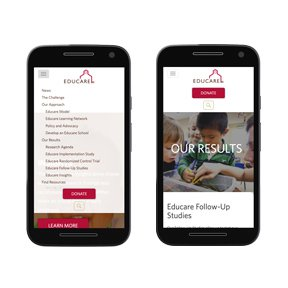 Mobile screenshots for Educare. Wordpress theme development by freelance web developer erica dreisbach.