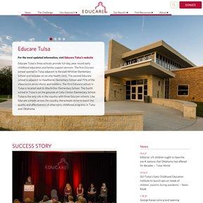 Screenshot for Educare's Tulsa school landing page. Custom Wordpress theme by Chicago freelance web developer erica dreisbach.