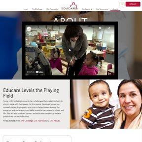 Screenshot of video on Educare's website. Custom click-to-display video player by Chicago Wordpress freelance developer erica dreisbach.