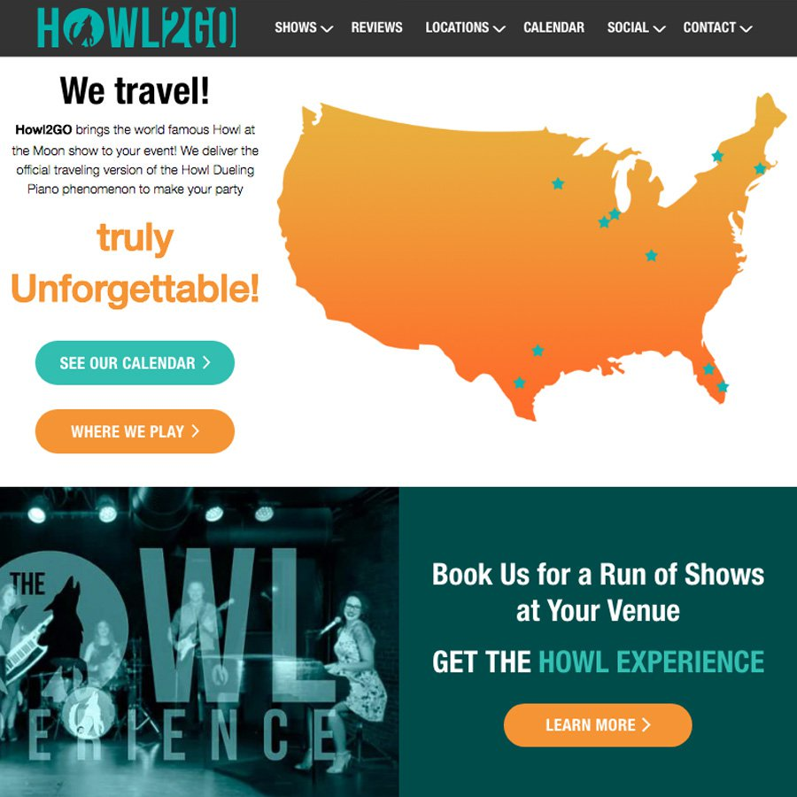 Homepage screenshot from the Howl2GO website featuring multimedia carousels | Wordpress design and web development by freelance Chicago web developer erica dreisbach