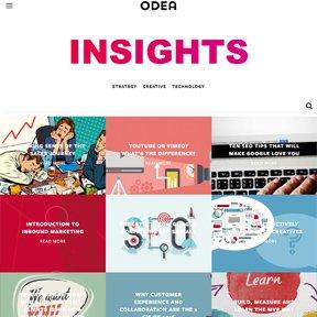 Odea blog featuring web design insights. Custom Wordpress theme coded by Chicago freelance developer erica dreisbach.