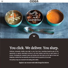 Screenshot of client landing page for Soup2You on Odea's website. Wordpress PHP theme code by Chicago freelance developer erica dreisbach.