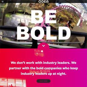 Odea homepage featuring HTML5 video. Wordpress Bootstrap development by freelance Chicago web developer erica dreisbach.