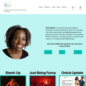screenshot of the homepage for Onicia Muller | female comedian in Chicago