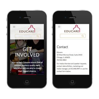 Educare Get Involved and Contact pages as viewed on mobile devices   coding by web developer erica dreisbach