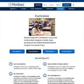 screenshot of Worsham College of Mortuary Science second quarter curriculum   freelance web developer erica dreisbach
