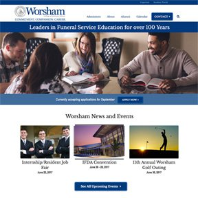 homepage screenshot of Worsham College of Mortuary Science   one of the best and oldest funeral schools in the United States   freelance web development by erica dreisbach