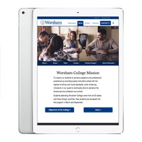 Worsham college homepage as viewed on a tablet. Mobile design and web development by Chicago web programmer erica driesbach.